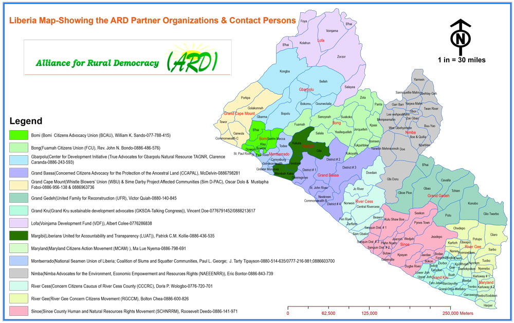 2015 map of Liberia showing ARD Member Organizations by County